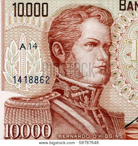 CHILE - CIRCA 1970: Bernardo O'Higgins (1778-1842) on 10000 Escudos 1970 from Chile. Chilean independence leader.