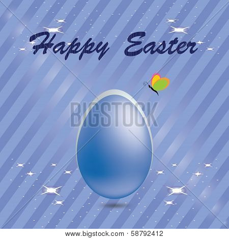 Easter egg in a blue striped background with butt