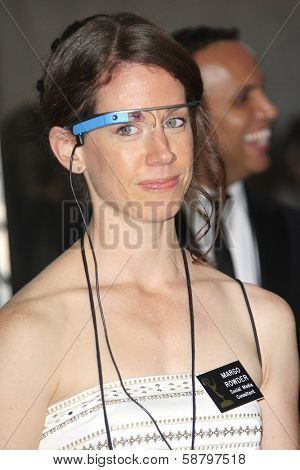 LOS ANGELES - SEP 22: Margo Rowder wears google glass in the press room during the 65th Annual Primetime Emmy Awards held at Nokia Theater L.A. Live on September 22, 2013 in Los Angeles, California