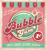 Vintage poster template for bubble gum. Retro vector banner design for chewing gum. poster