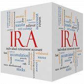 IRA 3D cube Word Cloud Concept with great terms such as individual retirement account plan and more. poster