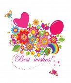 Funny greeting bouquet with balloons poster