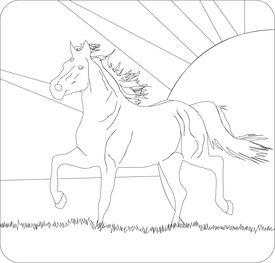 Running horse on a decline