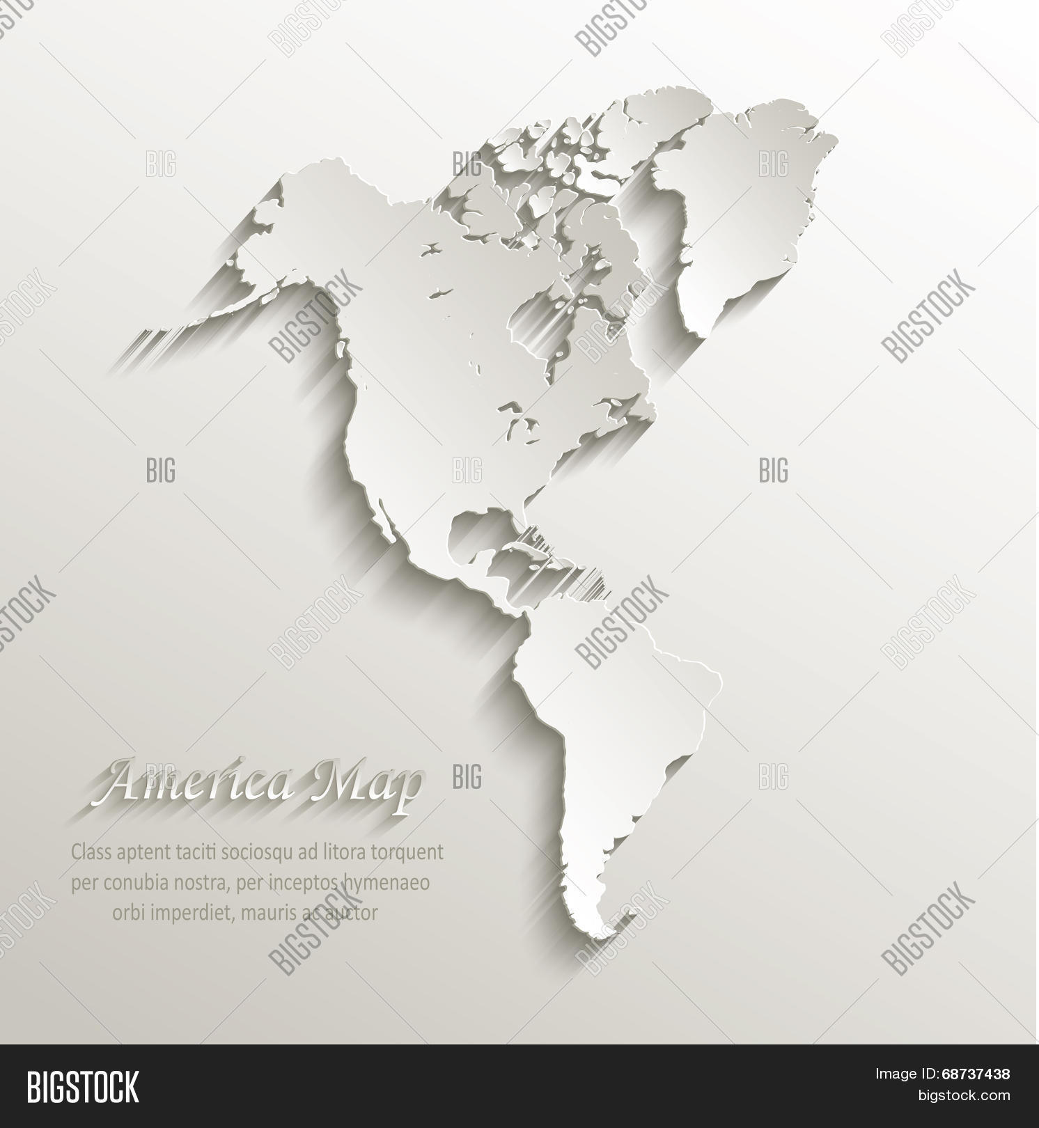 Map Of America 3d Vector.America Map Continent Vector Photo Free Trial Bigstock