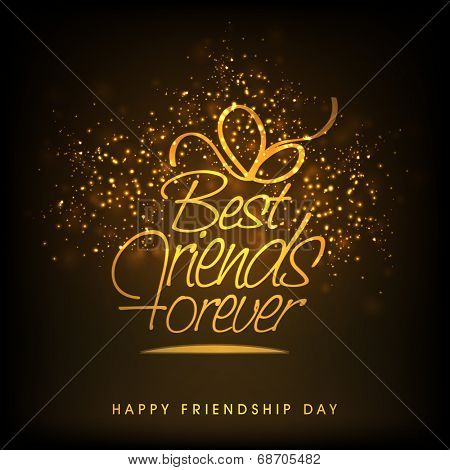 Stylish golden text Best Friends Forever in open box shape on fireworks decorated brown background.