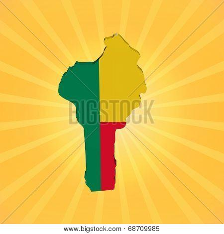 Benin map flag on sunburst illustration