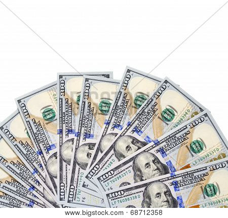100 USA dollars bank notes fanned out on white