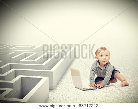 portrait of kid with pc maze background