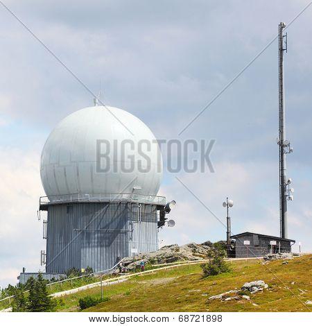 GROSSER ARBER, GERMANY - JULY 16 2014: NATO distant early warning, high-resolution radar on 1456 m high peak in Bayerische Wald. National park in Bavaria.