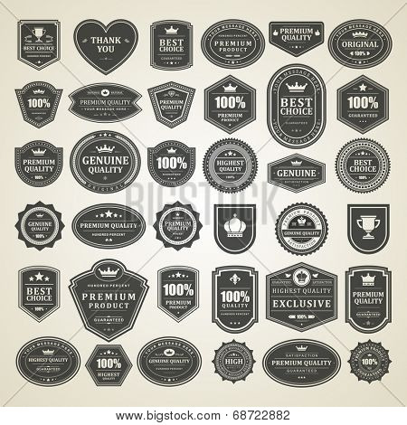 Vintage vector design elements. Retro style sale typographic labels, tags, badges, stamps, arrows and emblems set.