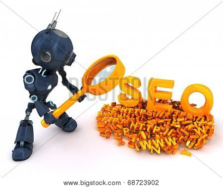 3D Render of an Android search engine optimisation