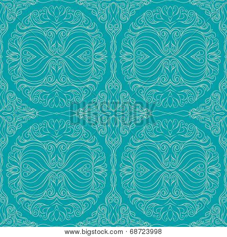 seamless turquoise abstract floral pattern. vector illustration poster