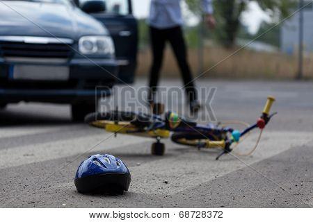 Car Driver Hitting Little Biker