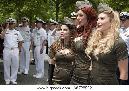 NEW YORK - MAY 23, 2014: The American Bombshells sing prior to the ceremony by the fountains at the WTC during Fleet Week NY.