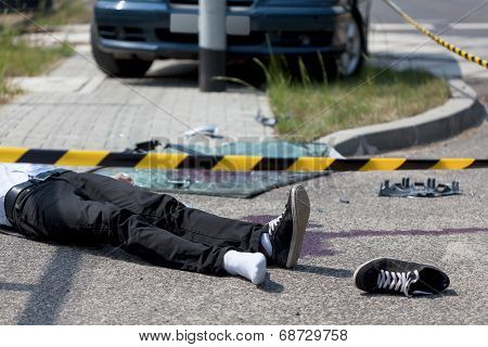 Horizontal view of male victim of car crash poster