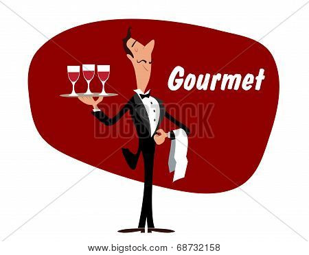 Elegant waiter with wineglasses