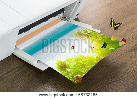 Printer with green leaf and butterfly , Summer time