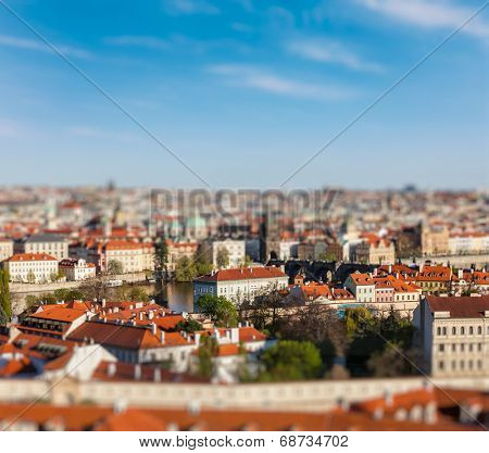 Aerial view of Prague from Prague Castle with tilt shift toy effect shallow depth of field. Prague, Czech Republic