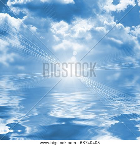 Blue Sky Reflected In Water