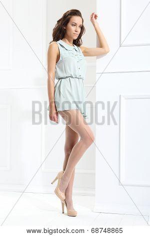 Leggy model in pantyhose