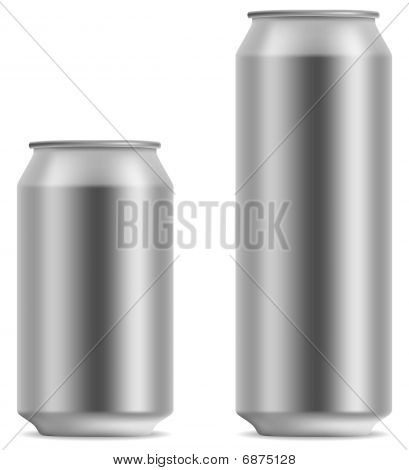 Blank beer can in 2 variants 330 and 500 ml isolated on white background. poster