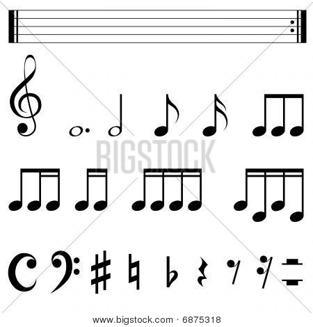 Standard music notation symbols black and white template. poster