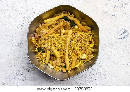 Indian snack savouries called mixture made from gram flour fried in sunflower oil