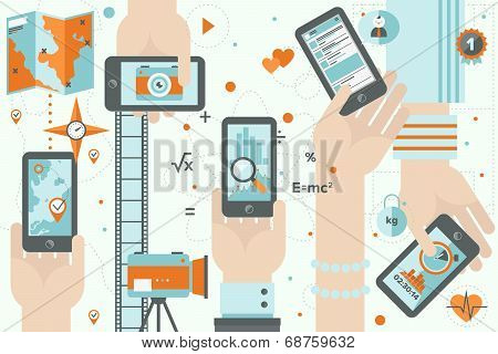 Smartphone Apps In Action Flat Design Illustration
