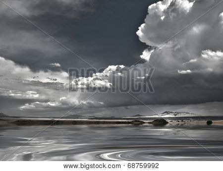 New Mexico USA Landscape with Dramatic Clouds