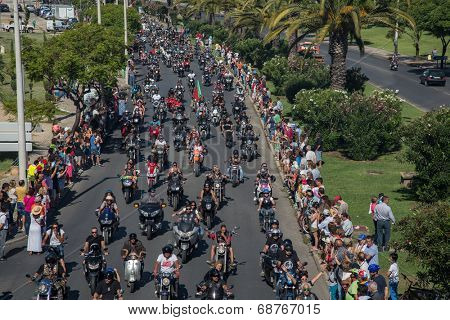 JULY 20: motorcycle parade in the streets at the XXXIII - International Motorcycle Meeting in Faro, Portugal, July 20, 2014