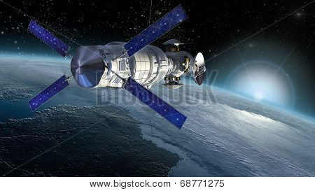 Satellite surveying Earth. Elements of this image furnished by NASA