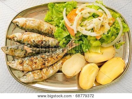 Grilled Sardines With Mediterranean Salad And Boiled Potatoes.