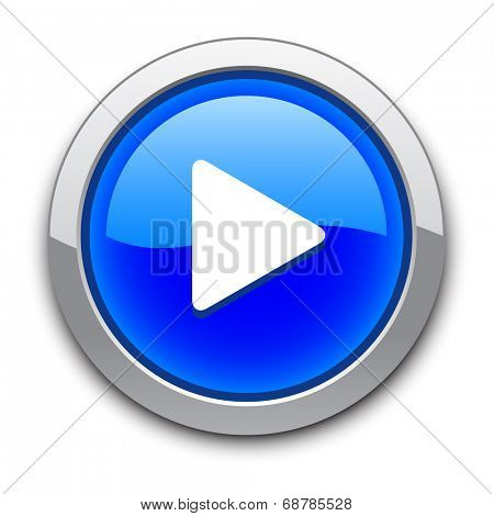 blue shiny play button with shadow on white / play icon