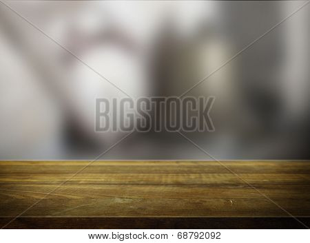 empty wooden table with blurred background