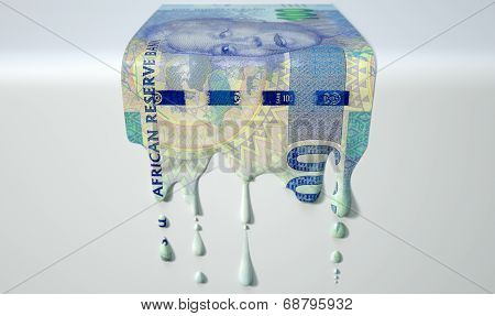 South African Rand Melting Dripping Banknote