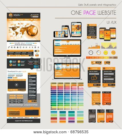 One page website flat UI UXdesign template. It include a lot of flat stlyle icons, forms, header, footeer, menu, banner and spaces for pictures and devices mockup.