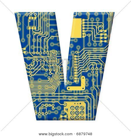 Letter From Electronic Circuit Board Alphabet On White Background - V