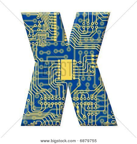 Letter From Electronic Circuit Board Alphabet On White Background - X