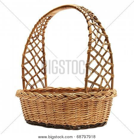Wicker basket isolated on a white background