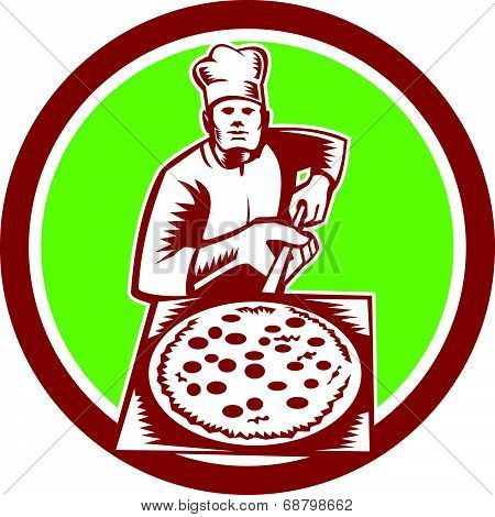Pizza Maker Holding Pizza Peel Circle Woodcut