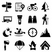set of 16 camping and travel icons poster