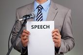Interview or making a speech with microphone concept for speech, communication or presentation poster