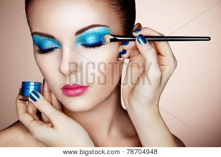 Makeup Artist Applies Eye Shadow