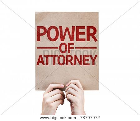 Power of Attorney card isolated on white background