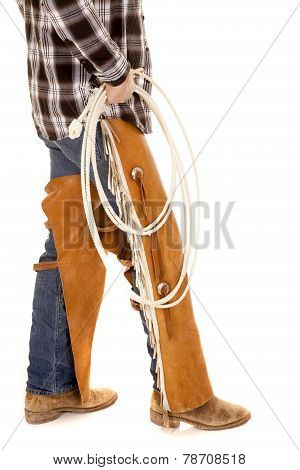 Cowboy Legs Chaps Hold Rope