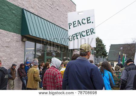 People At A Protest.