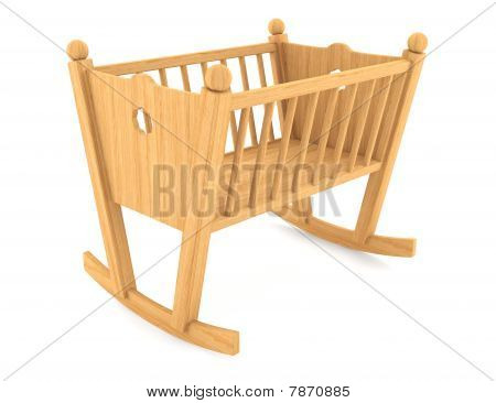 child crib isolated on white background with clipping path