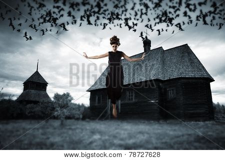 Witch Floating In The Air.