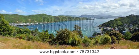 Waikawa Bay & Marina Panorama, Marlborough Sounds, New Zealand.