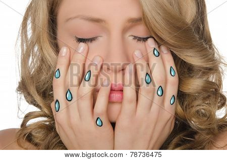 Weeping Woman With Tears In Hands